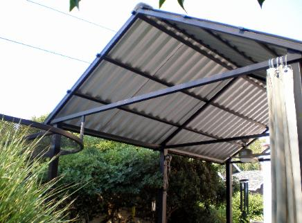 Custom Steel Patio Cover with Corrugated Roofing & Twisted Metal of Sacramento